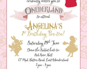 Queen of Hearts ONEDERLAND invitation |  Personalised Digital file