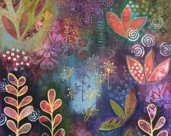 """Large abstract mixed media canvas painting """"Hidden Journey"""""""