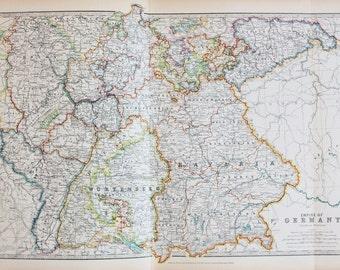 Johnston 1913 Antique Folding Map - Germany, German Empire, Pastel Colours