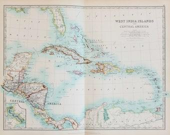 Johnston 1913 Antique Folding Map - West Indies, Caribbean, Central America, Pastel Colours