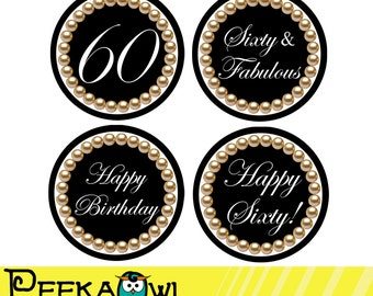 Instant Download 60th Birthday Cupcake Toppers, 60th and Fabulous topper Printable - Black Pearl 60th Birthday Favor tags, Sticker!!!