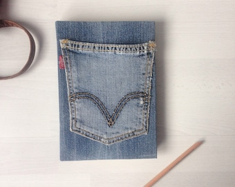 Sketchbook, journal, handbound blank book, vintage denim A5