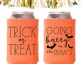 Halloween Party Going Batty Party Favors: Custom and Personalized Can Coolers // Trick or Treat Bats Pumpkins Boo