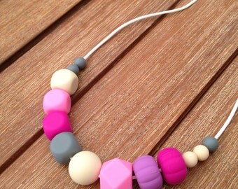 Silicone bead necklace, funky fashion jewellery for Mums, BPA and lead free