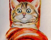 Watercolor Cat Pet Kitty Picture Eyes Art Greeting Card Animals Painting Paws Picture your pet. The artist Vladislav Kolomoets. CUSTOM