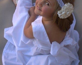 Cotton flowergirl, Simple flowergirl, Flowergirl dress, Toddler white dress, White girls dress, Boho flowergirl, Beach flowergirl