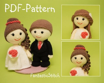 Crochet pattern wedding bride groom couple wave dress amigurumi PDF