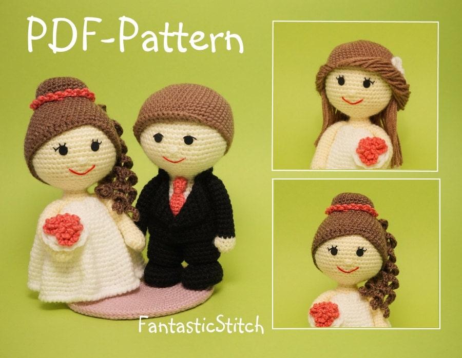 Free Amigurumi Patterns Owls : Crochet pattern wedding bride groom couple wave dress