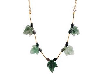Green tourmaline stones, handmade, unique design necklace