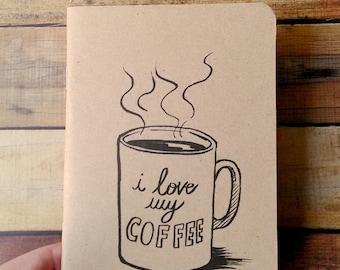"Handmade notebook A6 type moleskine kraft-coffee passion ""I love my coffee"" notebook"