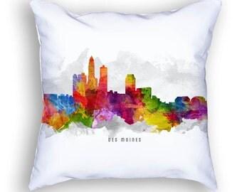 Des Moines Pillow, 18x18, Des Moines Cityscape, Des Moines Skyline, Cushion Home Decor, Gift Idea, Pillow Case 13