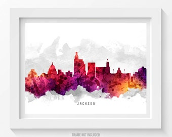 Jackson Mississippi Skyline Poster, Jackson Cityscape, Jackson Art, Jackson Decor, Home Decor, Gift Idea 14