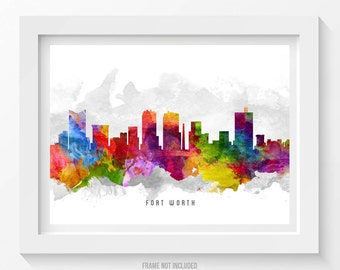Fort Worth Skyline Poster, Fort Worth Cityscape, Fort Worth Print, Fort Worth Art, Fort Worth Decor, Home Decor, Gift Idea 13