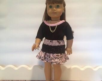 American Girl Doll Clothes, pink mini skirt, black lace,  handmade, black tshirt