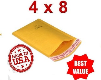 "500 Bubble Mailers #000 - 4""x 8"" USA Kraft Envelope Mail Shipping Packing Supplies"