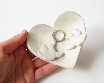 Little Love Birds Wedding Ring Dish, Ring Holder, Wedding Bowl, Wedding Ring Pillow, Jewelry Holder, Heart Plate, Ceramics and Pottery