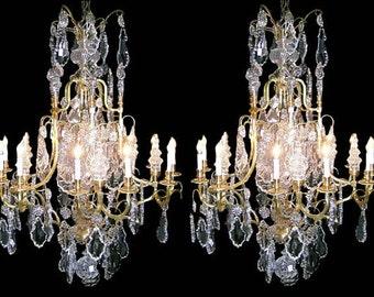 56.5572 Pair of Fabulous Bronze & Crystal Chandeliers