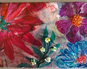 ORIGINAL Multi Media Floral Modern Art Abstract by Merrie Kapron