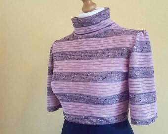 Handmade 60s style stripe turtleneck. Pink and grey knit. Size S