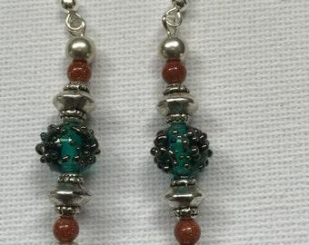 Czech glass and sunstone bead Earrings