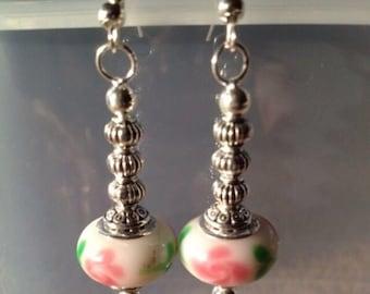 Floral Pink Murano bead and Tibetan silver bead dangle Earrings