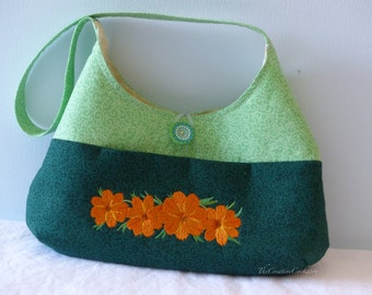 shoulder purse with embroidered cosmos flowers, fabric hobo handbag, embroidered item, handmade fabric purse, nature gift, floral design