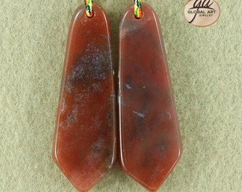 EA06204# 1 Pair indian Agate  Bead ,  Natural Stone  Pairs Gemstone Indian Agate  Pendant Beads