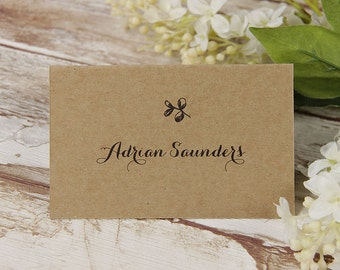 Delicate Flower Rustic Wedding Place Card