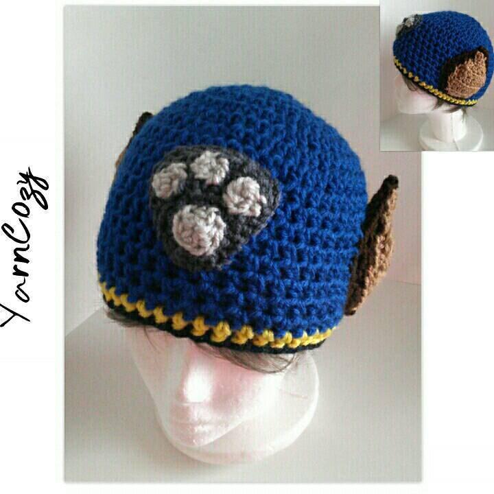Crochet Hat Pattern Paw Patrol : Crochet Paw Patrol Hat Paw Patrol Hat Chase Skye by YarnCozy