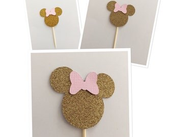 MINNIE MOUSE cupcake toppers, minnie silhouette image,vintage minnie party, minnie mouse cupcake toppers, black and gold cupcake toppers