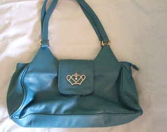 Vintage Daniel Ray blue faux leather handbag