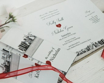 New York Wedding Invitations Personalised With Ribbon &  Envelopes, Free Draft Available In Any Colour