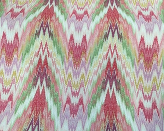 Modern Brilliant Multicolored Flame Stitch Upholstery Fabric