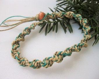Mens Hemp Necklace, Ankle Bracelet, Hemp Bracelet, Green and Tan, Spiral Hemp Bracelet, Unisex Hemp Jewelry