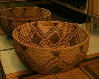 1875-1900 Native American Southwestern California Mission Hand Woven Basket