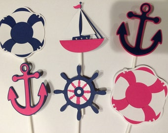 12 Pink, White, and Navy Nautical Cupcake Toppers