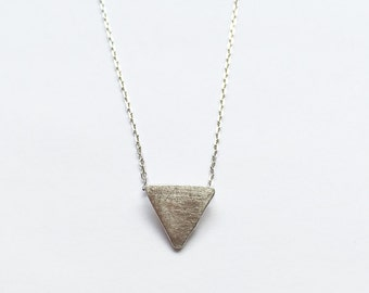 Brushed 925 Sterling Silver Triangle Necklace