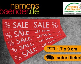 5 '% SALE' textile labels in red / white 1.7 x 9 cm