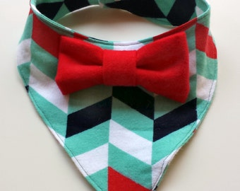 Chevron Baby Bandana Bib - Mint Bowtie Bib - Bibdana - Dribble Bib - Unique Baby Shower Gift - Hipster Baby Bib - First Birthday Gift