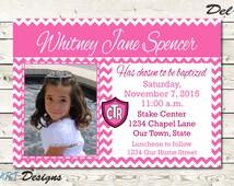 LDS Baptism Invitation, Girl, Photo baptism invitation announcement, chevron, Digital File, Printable or ecard/ evite, JPG or PDF