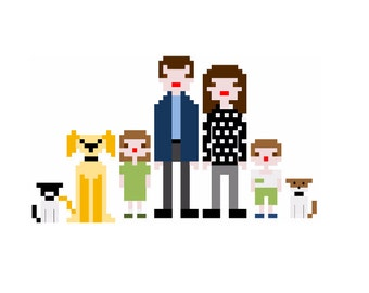 Custom Cross Stitch Pixel Family Portrait Pattern