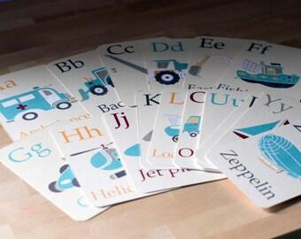 Alphabet Flash Cards Set, Transportation Alphabet flash cards nursery prints Vehicles Alphabet Nursery Prints, Cream Background Set of 26 A6