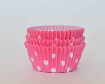 Pink Polka Dot Cupcake Liners // Pink Baking Cups (Qty 50)