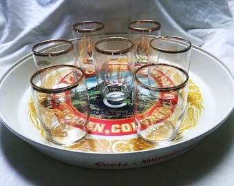 Vintage Coors Thermo Serv Tray and set of 7 gold rimmed Coors glasses, good condition