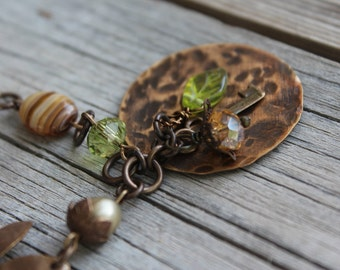 "Natural Brass/Green ""Bello"" Necklace"