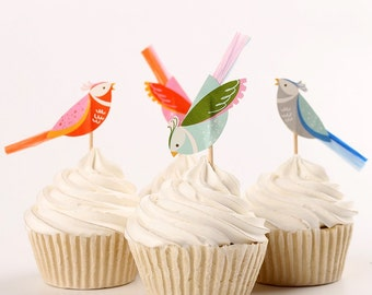 24 bird cupcake toppers, vintage cupcake toppers, mint, pink blue cupcake topper.