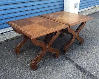 Vintage pair of Drexel End Tables- so unique!