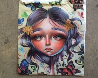 Chrysalis Butterfly Lady Art Large Drawstring Pouch Bag Roses Anime Big eyed Girl Pop Surrealism Whimsical Pretty