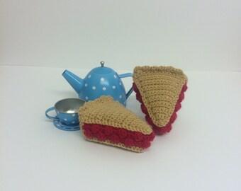 Play Food Crochet Cherry Pie Slice, Gift, Amigurumi