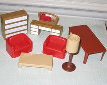 Vintage ARCO Plastic Dollhouse Furniture Lot of 7 Pieces made in Hong Kong